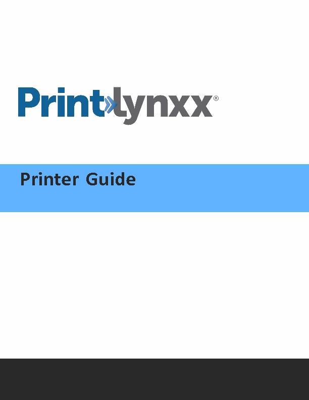 Printer Guide for PrintLynxx